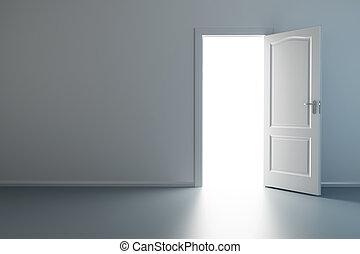 新しい, ドア, 部屋, 空, 開いた