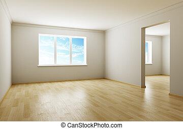 新しい, 部屋, 空