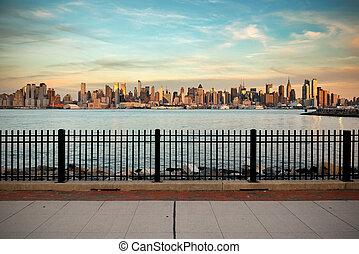 新しい, 都市, 超高層ビル, ヨーク