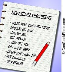 新しい, resolutions, リスト, 年
