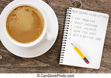 新年, カップ, コーヒー, resolutions