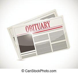 新聞, 死亡記事, セクション, デザイン, イラスト