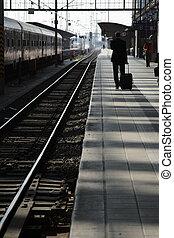 旅行者, 鉄道, platform.