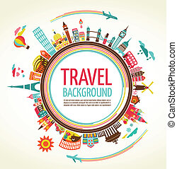 旅行, ベクトル, 観光事業, 背景