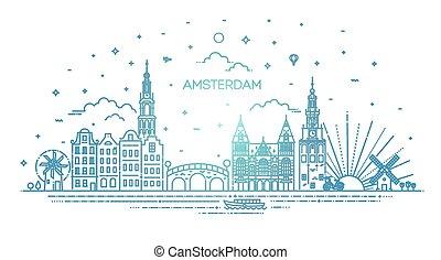 旅行, 線, 建物, ランドマーク, アムステルダム, 薄くなりなさい, 歴史的, アイコン