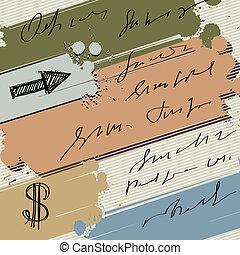 旗, カラフルである, はね返し, ドル, 背景, ベクトル, スケッチ, 矢, インク