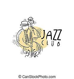 旗, カード, クラブ, 型, ジャズ, イラスト, ラベル, リーフレット, フライヤ, ベクトル, 音楽, 要素, sax, 引かれる, 手, 遊び, ∥あるいは∥, ロゴ, saxophonist