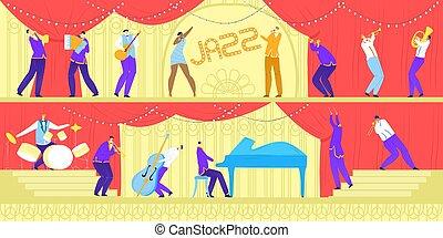 旗, バンド, 歌手, パフォーマンス, 道具, ジャズ, ∥あるいは∥, 音楽家, illustration., コンサート, ベクトル, ミュージカル, 音楽, 祝祭, 横
