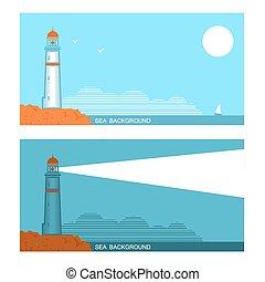旗, 灯台, 青, について, 海, セット, コレクション, ベクトル