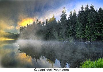 日の出, 上に, trillium, オレゴン, 湖