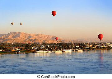 日の出, 空気, 暑い, ルクソール, 風船