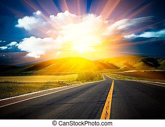 日光, の上, road.