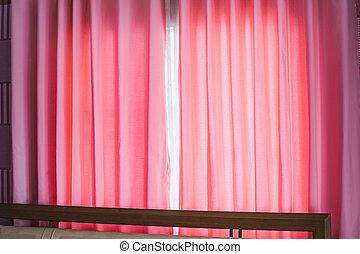 日光, カーテン, 窓, ピンク, によって