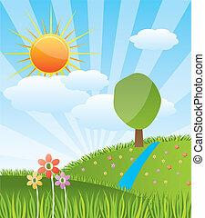 日当たりが良い, 風景, 森林, 春