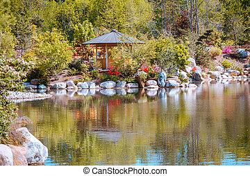 日本語, 眺望, 壮大, 光景, 庭, ミシガン州, 急流