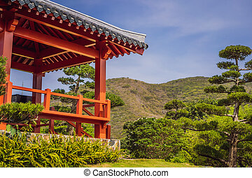 日本語, 赤, gazebo, 庭