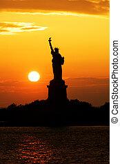 日没, シルエット, 像, 自由