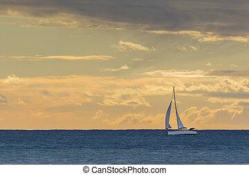 日没, ボート, 航海