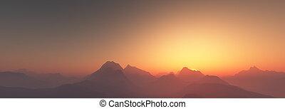 日没, 上に, 山