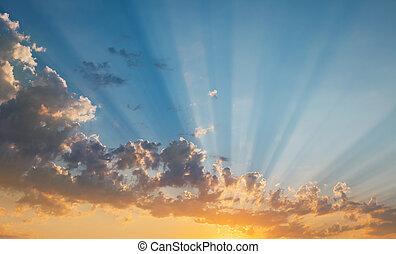日没, 光線, 空, 太陽