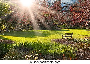 日没, 公園のベンチ