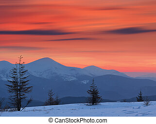 日没, 冬の景色