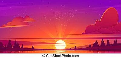 日没, 木, 風景, 湖