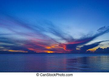 日没, 湖, songkhla, thailand., 空