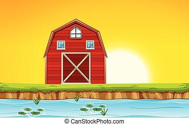 日没, 現場, 赤い納屋