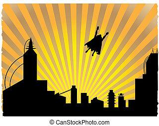 日没, 飛行, 離れて, silhouetted, superhero
