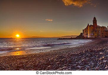 日没, camogli, 海岸