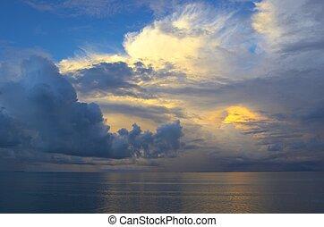 日没, indian, 空, 海洋