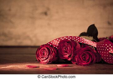 日, ばら, 木, バレンタイン, 赤