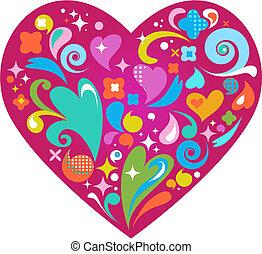 日, 心, 装飾用である, ベクトル, バレンタイン