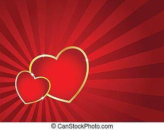 日, card., しまのある, 心, 2, 金, ベクトル, バックグラウンド。, バレンタイン, ストローク
