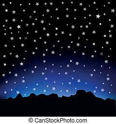 星が多い空, 風景, 山
