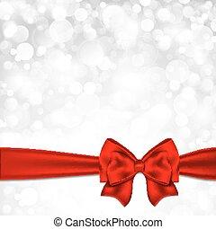 星が多い, クリスマス, 背景, 弓, 光沢がある, 銀, 赤