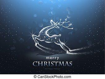 星が多い, 鹿, クリスマス, 背景