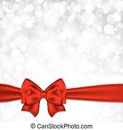 星が多い, bow., クリスマス, 背景, 光沢がある, 銀, 赤
