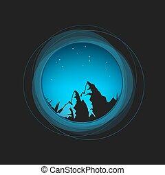 星, 夜空, 山