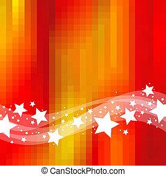 星, &, 抽象的, ホリデー, 背景, 波