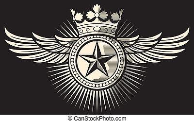 星, 王冠, 翼, 入れ墨