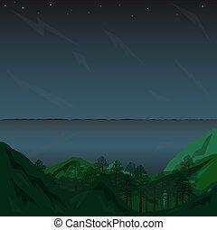 星, 風景, 山, 灰色, 湖