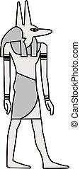 映像, 古代, エジプト人, ペイントされた, anubis, 壁画