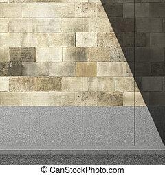 映像, 壁, イラスト, 通り, 影, 3d