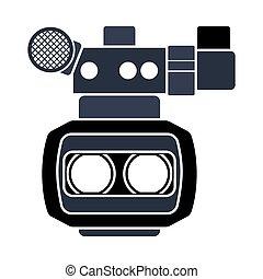 映画, 3d, カメラ, アイコン