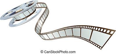 映画, spooling, 巻き枠, フィルム, から