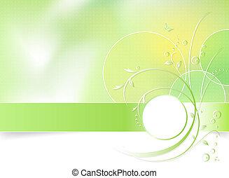 春の花, 緑の背景