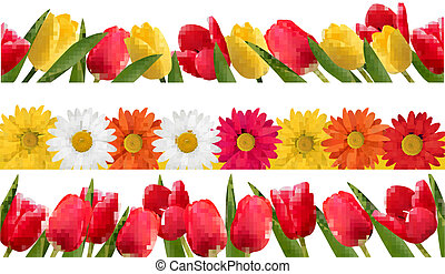 春の花, vector., borders.