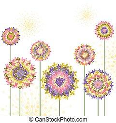 春, アジサイ, 花, カラフルである, 背景